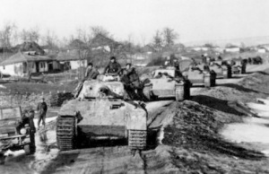 A group of Panzer V German tanks